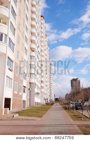 Modern new building in the dormitory area of the city Domodedovo situated near Moscow, Russia