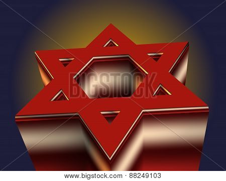 Stylized Image Of A Red Star Of David Made On A Dark Background