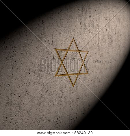 Stylized Image Star Of David Made On The Stone Wall
