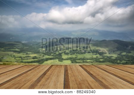View From Cadair Idris Mountain North Over Countryside Landscape With Wooden Planks Floor
