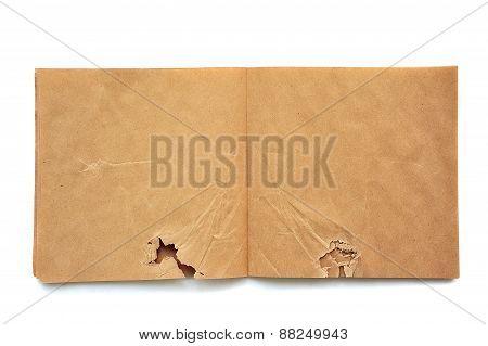 Crumpled Open Brown Skatchbook