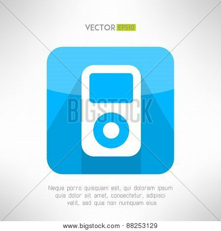 Musical pleer icon in modern flat design. Portable music symbol with long shadow. Vector illustratio