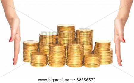 Golden Coins And Woman Hands Isolated On White