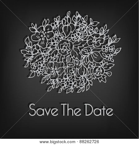 Simple linear flower bouqet. Wedding invitation template.