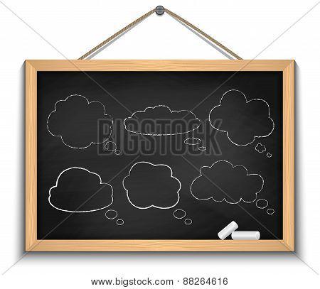 Chalkboard With Cloud Speech Bubbles