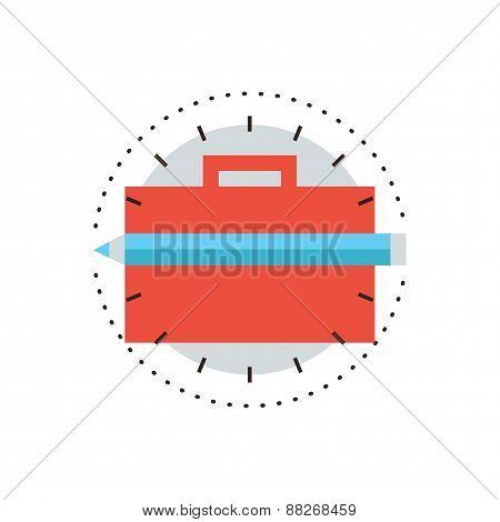 Portfolio Briefcase Flat Line Icon Concept