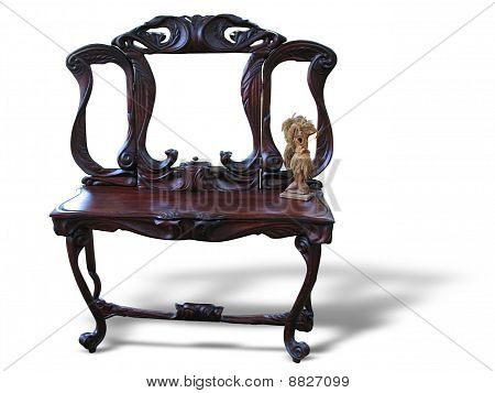 Vintage Old Manually Made Furniture Isolated Over White