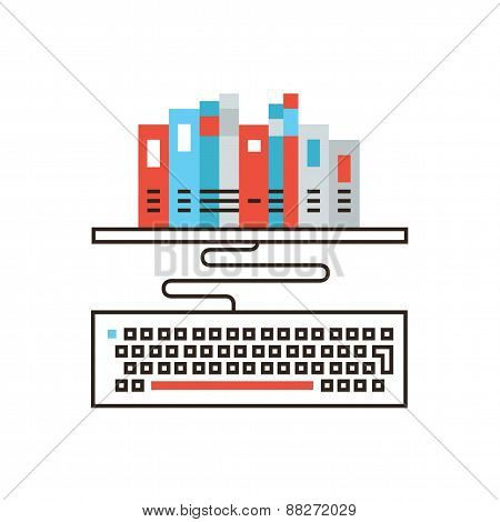 Online Library Flat Line Icon Concept