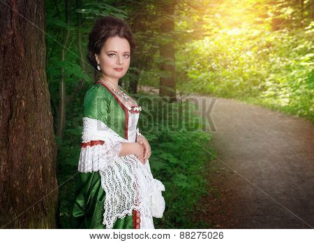 Beautiful Young Woman In Green Medieval Dress