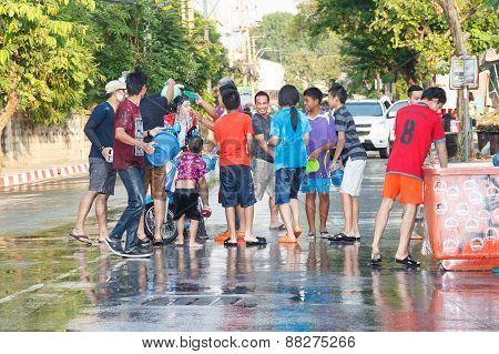 Nakhon Ratchasima, Thailand - April 15, 2015: Thai People Playing Water In Songkran Festival On Apri