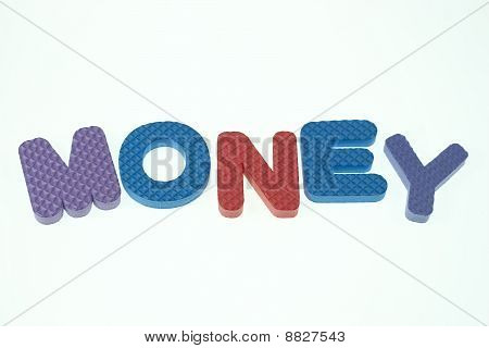 Word Money Spelled Out In Kids Blocks Isolated On White