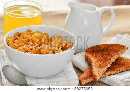 Breakfast Cereal With Toast And Juice.