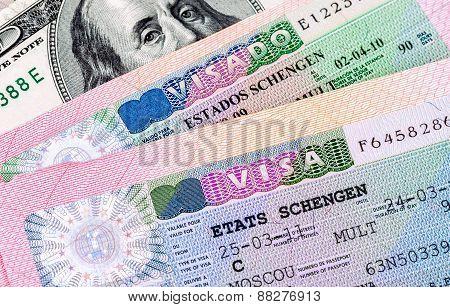 Fragment Of Schengen Visa In Passport And American Dollar Banknote