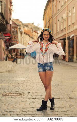 Ukrainian Gilr Portrait On Street In Lviv