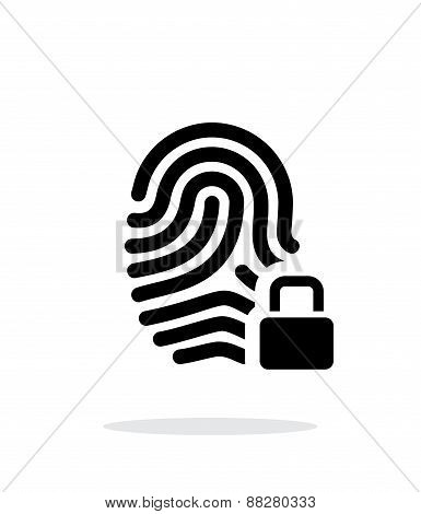 Fingerprint and thumbprint with lock icon on white background.
