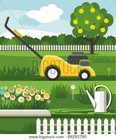 Mower, Lawn, Flowerbed, Apple...