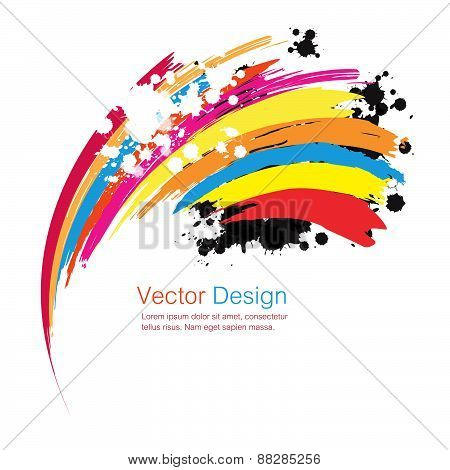 Abstract Rainbow Ink Paint Background