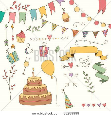 Hand Drawn Vintage Birthday Design Elements, Flowers And Floral Elements