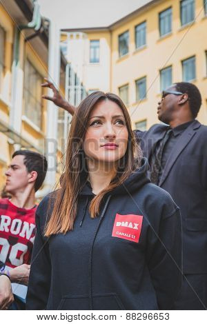 Girl Working For Dmax Channel At Fuorisalone During Milan Design Week 2015