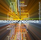 Background text pattern concept wordcloud illustration of macroeconomics glowing light poster