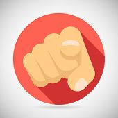 Pointing Finger Potential Client Politician Businesman Elected Icon Concept Flat Vector Illustration poster