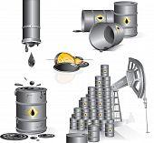 Set of industrial vector illustrations - Oil pumpoil, barrels, gasoline, pipes poster