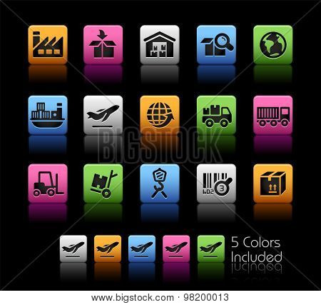 Industry and Logistics Icons // ColorBox Series ---- The Vector file includes 5 color versions for each icon in different layers --