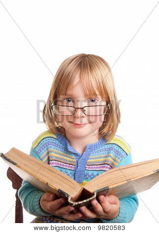 Child Glasses Book Isolated