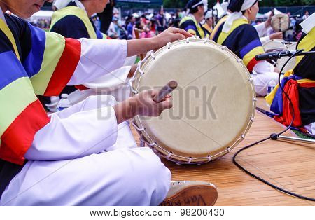 Korean Drum Played At Festival Grounds