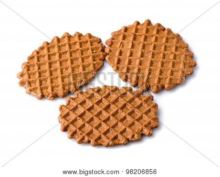 Waffle Cookies Isolated On White Background