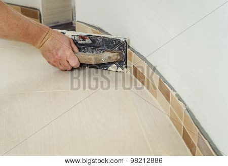 Fill The Tile Joints With Grout