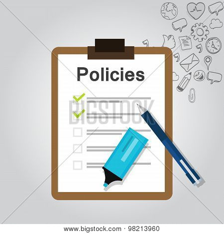policies regulation concept list document company clipboard vector poster