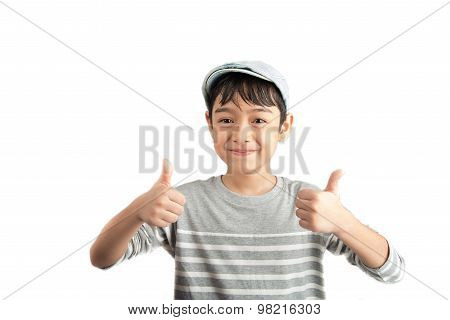 Little boy pose portrait with thump up on white background