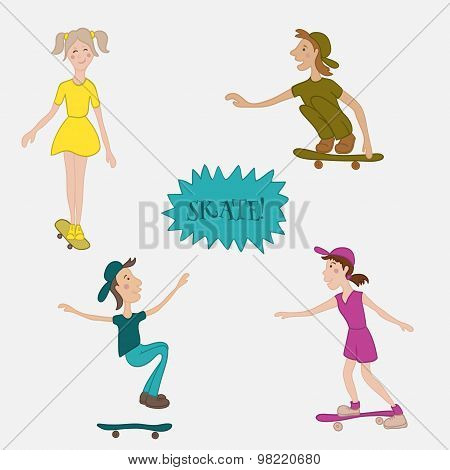 Teens male and female skaters in action. Cartoon vector illustrtion in flat style