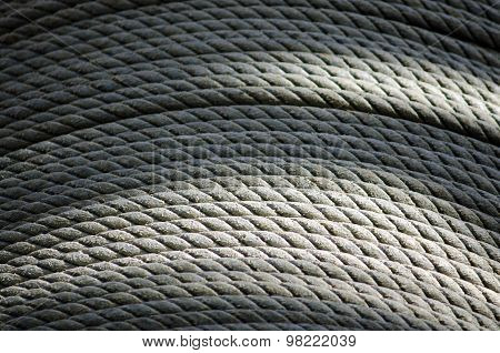 Close up photo of fishing cable reel