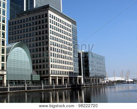 Office buildings in Canary Wharf London Docklands