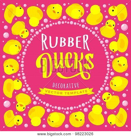 Vector decorating design made of yellow rubber ducks