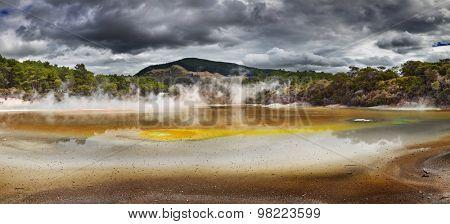 Artist's Palette Pool in Waiotapu Thermal Reserve, Rotorua, New Zealand
