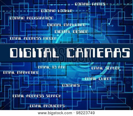 Digital Cameras Indicates Technology Video And Words