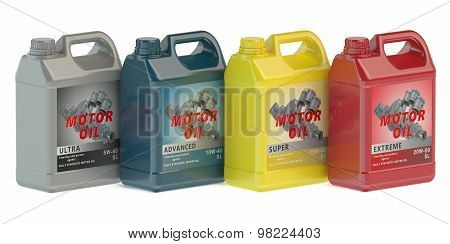 canisters motor oil isolated on white background poster