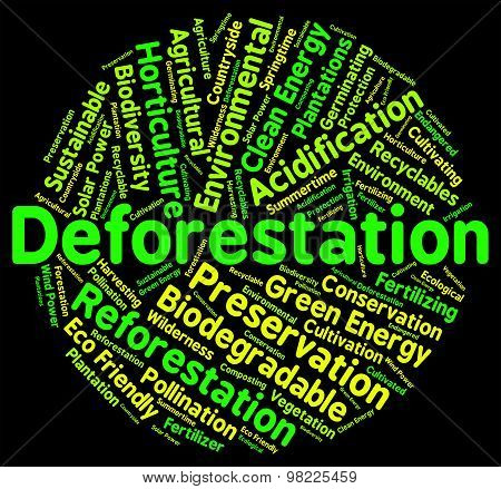Deforestation Word Shows Cut Down And Clear