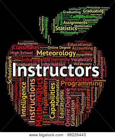 Instructors Word Indicates Give Lessons And Coaching