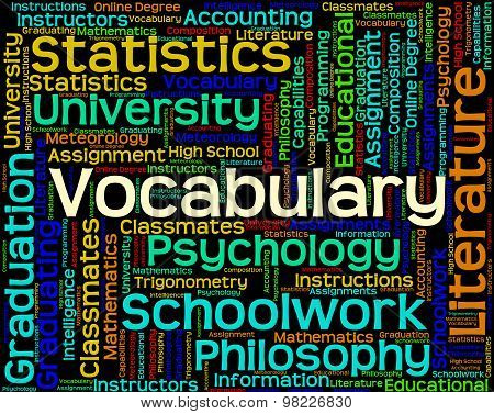 Vocabulary Word Means Spelling Glossary And Text