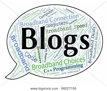 Blogs Word Shows Weblog Blogging And Blogger