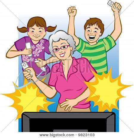 Grandma Playing Video Games