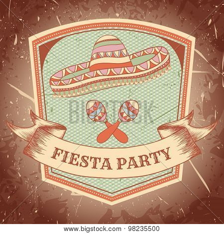 Mexican Fiesta Party label with maracas, sombrero .Hand drawn vector illustration poster with grunge