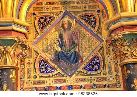 PARIS, FRANCE - SEPTEMBER 8, 2014: Paris - Interiors of the Sainte-Chapelle  The Sainte-Chapelle is a royal medieval Gothic chapel in Paris and one of the most famous monuments of the city .