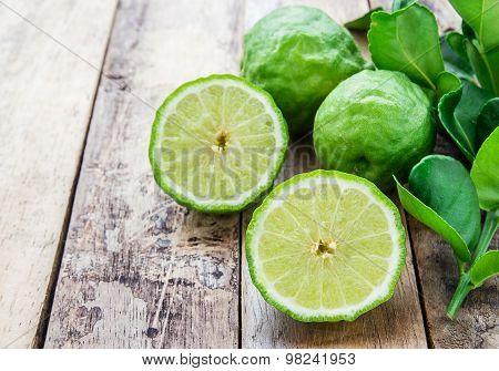 Bergamot On Wooden Table, (kaffir Lime)