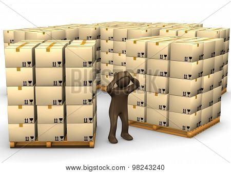 3D Illustration, Desperate Brown Figurine, Packages On Pallets, Storage