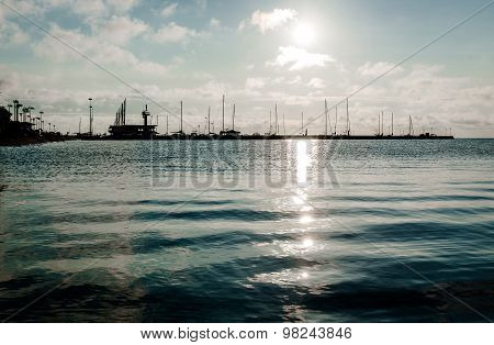 Sunrise Over The Seaport In The Curonian Lagoon. Nida Resort Town. Neringa, Lithuania